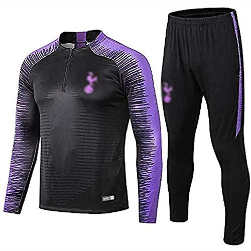 Chándal para hombre, traje de entrenamiento de fútbol, media cremallera manga larga fútbol ropa deportiva, unisex competición, negro, L