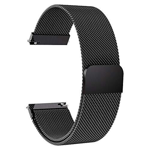 Lomet 22mm ステンレススチールメッシュループブレスレットストラップ Samsung Galaxy Watch 3 45mm/Gear S3 Frontier/Classicバンド対応 Ticwatch Pro/Samsung Galaxy Watch 46mm (1-ブラック)