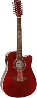 De Rosa 12 String Acoustic-Electric Guitar Burgundy Right Handed
