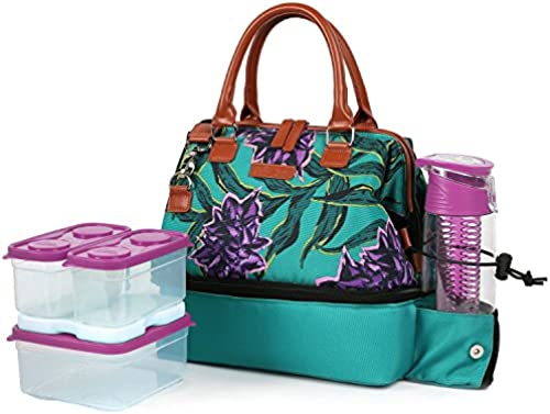 Arctic Zone Ladies Lunch Tote In Grün Features Thermal Insulation The Set Includes A Sandwich Container And Two Snack-Größe Containers, Which Are Microwave- And Dishwasher-Safe