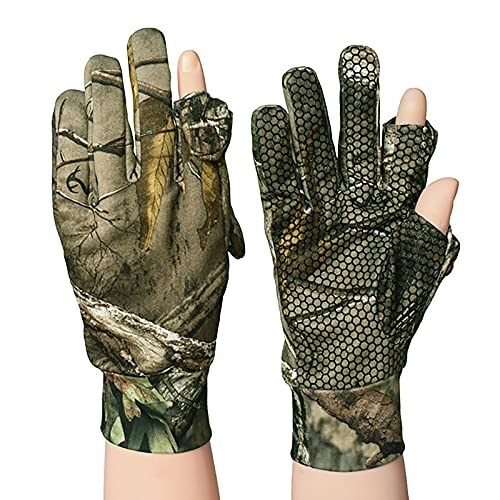 Men s Hunting Gloves-Anti-Slip Fishing Gloves Shooting Lightweight Mittens Camo Full Finger Fingerless Gloves Duck Hunting Accessories Size L
