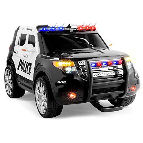 Best Choice Products Kids 12V Electric Police Ride On SUV w/ RC, Lights/Sounds, AUX, Black