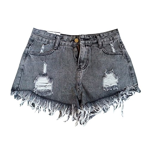 Elonglin Damen Mädchen Shorts Baumwolle Denim Kurze Hose Zerrissene Löcher Hot Mini Jeans Hoher Bund Lässig Grau DE XS (Asie M)