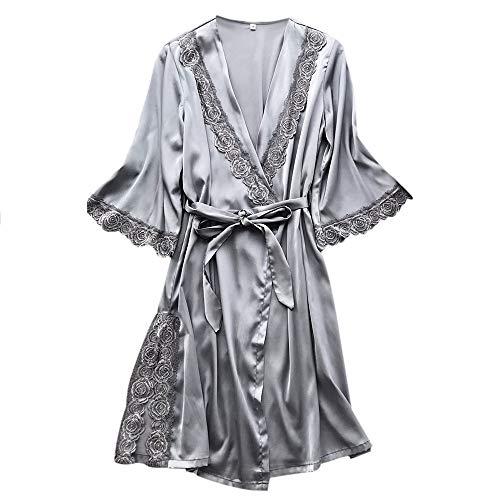 Proumy Kimono Japones de Seda Vestido de Dormir Gris Estampado de Flores Pijama Mujer Verano Conjutno Una Pieza Sexy Bata de Encaje Camisola Floral Ropa Interior Lencería de Cama Camisola Cuello V