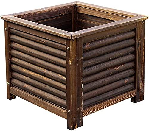 Mesas de Cultivo Kit de Cama de jardín Cuadrada de Madera Maciza Cama de plantación de Patio Cama de jardín elevada Caja de plantación Caja de plantación Agujero de Drenaje Fácil de Instalar EII