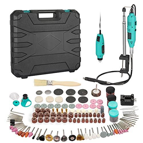 Anbull Mini Amoladora Eléctrica180W Mini Taladro Herramienta Rotativa Multifunción con 250 Accesorios para Manualidad para cortar, lijar, pulir
