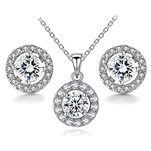 BaubleStar Silver Round CZ Stud Earrings Pendant Necklace Crystal Bridal Wedding Jewelry Set for Brides Bridesmaids Teen Girls Women B044