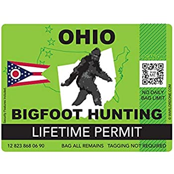 fagraphix Ohio Bigfoot Hunting Permit Sticker Die Cut Decal Sasquatch Lifetime FA Vinyl - 4.00 Wide