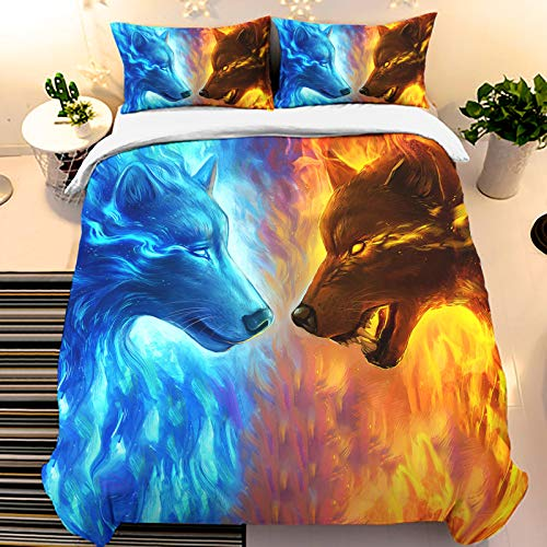 Ice Fire Wolf Duvet Cover Set Animal Printed Blue&Red 3D Comforter Cover Set Soft Microfiber Bedding Quilt Cover Set with Pillow Case Zipper Closure for Kids Teens Adults Bedroom Decor Twin Size