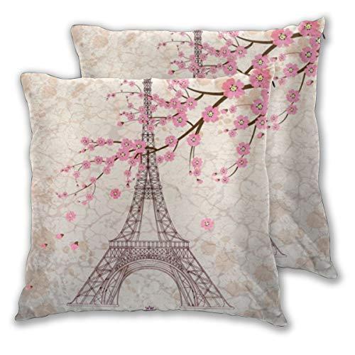Juego de 2 fundas de cojín, diseño vintage de la Torre Eiffel de París con flor de cerezo rosa, fundas de almohada cuadradas decorativas, fundas de almohada para dormitorio, sala de estar, 45 x 45 cm