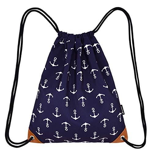 Leapop Unisex Turnbeutel Segeltuch Sporttaschen Gymsack, Hipster Drucken Pattern Beutel Sportbeutel Tasche Tüte Rucksack mit Innentasche (Navy Blau Anker)
