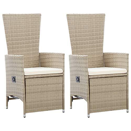 vidaXL 2X Garten Liegestuhl mit Auflagen Gartenstuhl Relaxstuhl Sessel Sonnenliege Hochlehner Stuhl Gartensessel Gartenmöbel Poly Rattan Beige