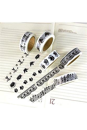 YOIL Washi tape Masking Paper DIY Craft decorazione (bianco e nero)