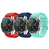 Fit for Huawei GT Watch Band/Samsung Galaxy Watch 46mm/ Gear S3 Bands, 22mm Sport Silicone Bands Straps Bracelet Watch band Accessory Band for Galaxy S4 46mm Watch/ Gear S3 (Red Blue Green)