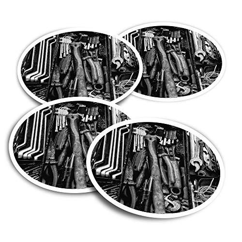 Pegatinas de vinilo (juego de 4) 10 cm – BW – Caja de herramientas mecánica, ingeniero comercial, calcomanías divertidas para portátiles, tabletas, equipaje, reserva de chatarra, neveras #43648
