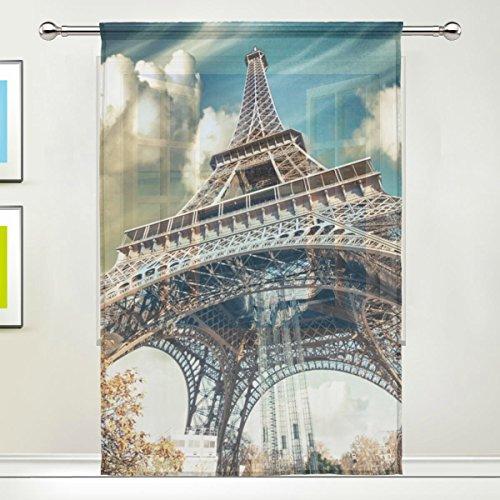 COOSUN Magnifique Vue sur la Rue de Paris Tour Eiffel Panneaux Voilage Tulle Polyester Fenêtre Panneau de Traitement Voile Rideaux pour Chambre Salon Décoration d'intérieur, 55x84 Pouces, 1 Pièce 55