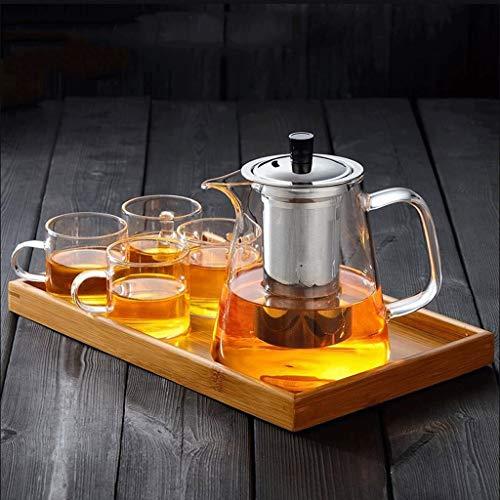 Hittebestendige NHL theepot van glas met hoge temperatuur verdikking theepot roestvrij staal pool theepot theebloem voor thuis (theepot + 4 kopjes + dienblad