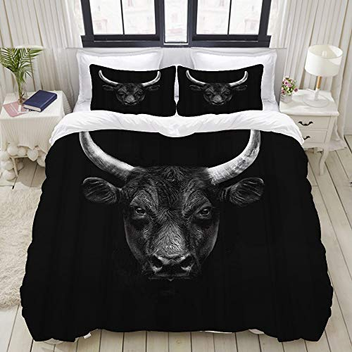 Dodunstyle Bettbezug, Bull Nature Farm Animal Schwarz Camargue Bull Face Wild Beast Horn, Bettwäsche-Set Ultra Bequeme leichte Mikrofasersets