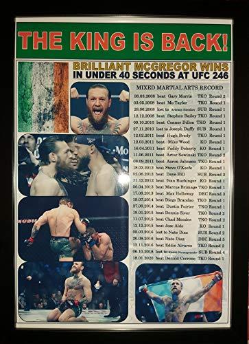 Sports Prints UK Conor Mcgregor Beats Donald Cerrone MMA UFC 246-2020 - Impresión enmarcada
