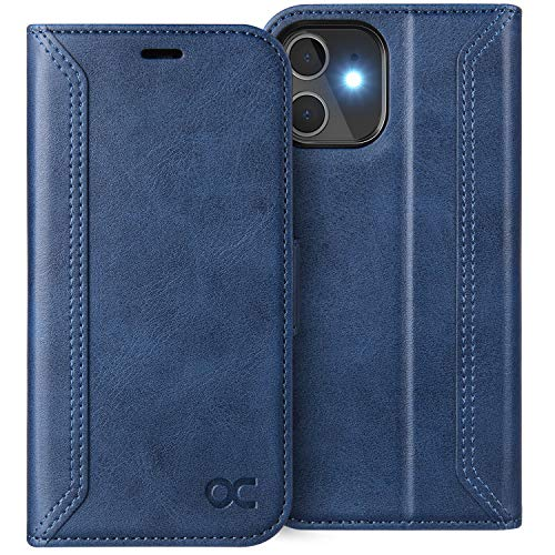 OCASE Retro Series Compatible with iPhone 12 Pro Case, Compatible with iPhone 12 Wallet Case [Card Slots][RFID Blocking][Kickstand] PU Leather Flip Folio Phone Cover 6.1 Inch (Blue)