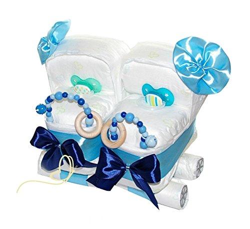 Windeltorte Zwillingswagen blau - Geschenk für Zwillinge - Windelkinderwagen für Jungs
