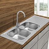 ECD Germany Fregadero de cocina 120 x 50 cm con juego de desagüe - lavabo duble seno con sifón - soporte a la derecha - acero inoxidable - pila lavadero platos manual empotrado con rebosadero