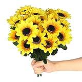 4 Bunches Artificial Sunflower Bouquet, 28 Fake Silk Flowers Bouquets Faux Flower Decor Floral Arrangement for Home Outdoor Parties Decorations