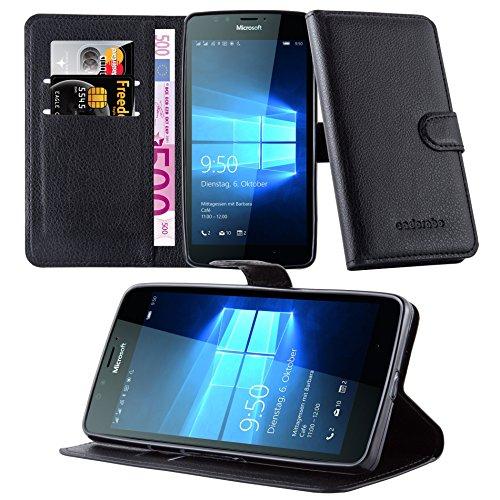 Cadorabo Hülle für Nokia Lumia 950 - Hülle in Phantom SCHWARZ – Handyhülle mit Kartenfach und Standfunktion - Case Cover Schutzhülle Etui Tasche Book Klapp Style