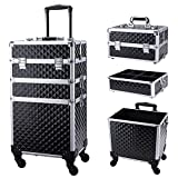 Frenessa 3 in 1 Rolling Makeup Train Case Professional Cosmetic Trolley Large Storage with Keys Swivel Wheels Salon Barber Case Traveling Cart Trunk for Make Up Hairstylists Nail Tech, Vintage Black