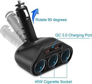 Rocketek 3-Socket 2-Port USB Quick Charge 3.0 Car Charger Splitter Adapter, 120W 12V/24V DC Outlet Multi Socket Car Cigare...