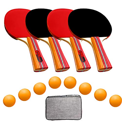 UniqueMax, Ping Pong Paddle, Best 4 Pack Professional Table Tennis Racket Set, 8 Game Balls, Portable Table Tennis Set, Ping Pong Paddles with Carry Case