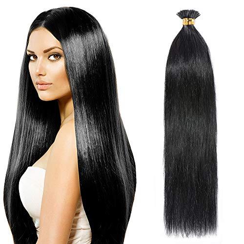 Extension Cheveux Naturel Rajout Pose a Froid Pre Bonded I Tip - 100 Mèches/50G - Remy Human Hair (#1 NOIR FONCE, 40CM)