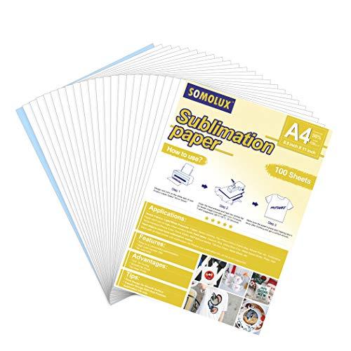 SOMOLUX - Papel de sublimación de 21,6 x 28 cm, compatible con impresora de inyección de tinta...