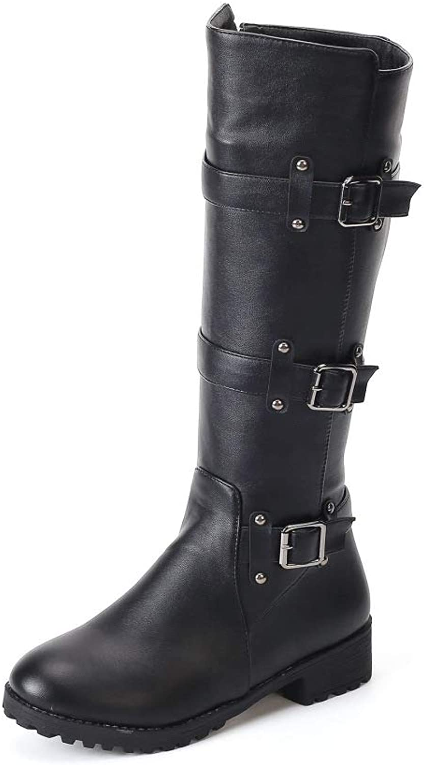 Boots for Women, Round Head Large Size Flat Belt Buckle Fashion Boots, British Wind Belt Buckle Boots Snow Boots