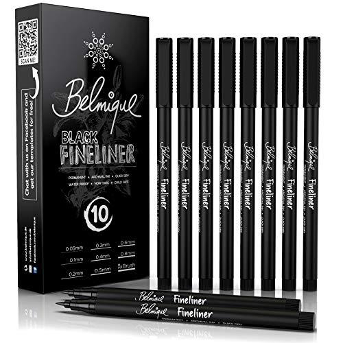 Belmique Fineliner Set Schwarz | 10 Stück inkl. 2x Brushpens | Blackliner 0,05 mm bis 0,8 mm | Wasserfest, schnelltrocknend, deckend und hochpigmentiert für Skizzen, Zeichnungen, Bullet Journal
