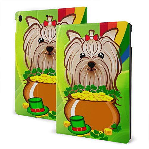 Halloween Green Hat Dog Coin Lucky Weed Design Pu Leather Ipad Pro Air 3 10.5/Ipad 7th Generation 10.2 Inch Case Cover Holder for Kids Girls Boy Women Men Accessories