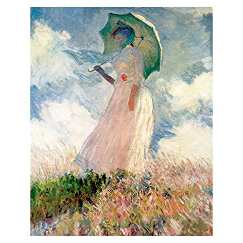 LegendArte Stampa su Tela - Donna con Il Parasole - Claude Monet cm. 80x100 - Quadro su Tela, Decorazione Parete