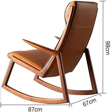 Chaise Lounge Vintage Single Leather Rocking Chair Smooth Rocking Motion,Leather Black Walnut Wood Lounge Terrace Recliner,Suitable for Terrace Living Room QYDJD