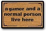 LHM Felpudo pintado a mano, diseño de gamer and A Normal Personson Live Here, divertido Nerd Culture Geek, pintado a mano, RPG, Novio, regalo NHouse