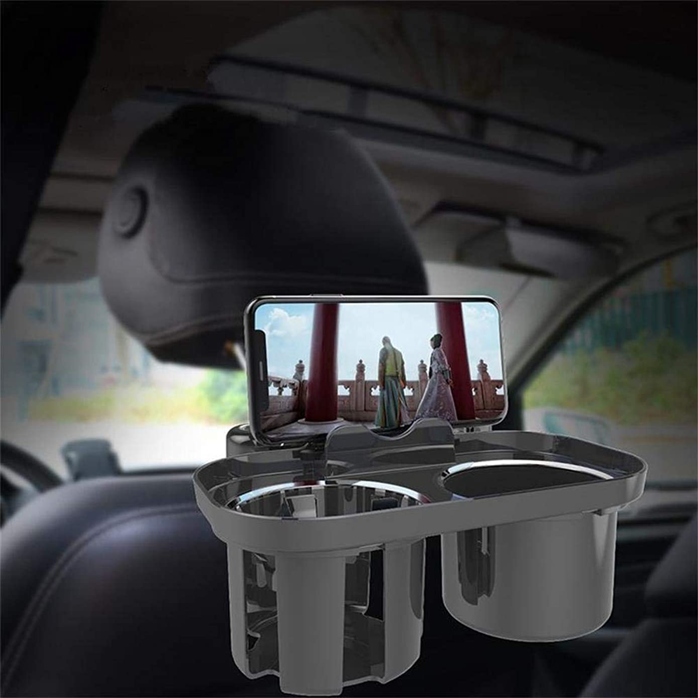 MAOBLOG Multifunction Car Seat Mount Holder Snacks Cup Storage Tray Bracket Cradle Clip Standard for iPhone Xs Max XR X 8 7 Plus Galaxy S9 S8 Plus and Other Mobile Phones. (Black)