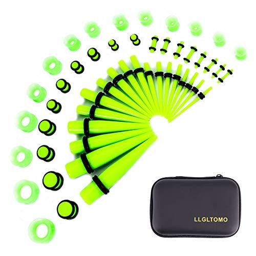 LLGL-EU Ohr-Stretching-Kit 50 Stück 14G-00G Ohr Messgeräte Expander Set Acryl Verjünger und Stecker & Silikon Tunnel Piercing-Schmuck-Set mit Eva-Box (Fluorescent Green)