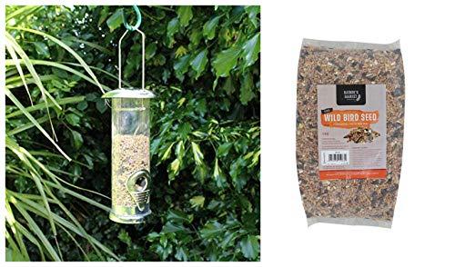 garden mile Deluxe Small Stainless Steel Seed Bird Feeder with 1kg Bag of Bird Feed Seed Hanging Bird Nut Seeds Bird Feeder Outdoor Garden Patio Wild Birds Wildlife Food