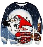 Idgreatim Uomo Ugly Christmas Sweatshirts Bikini Dace Babbo Natale a Maniche Lunghe Maglione Lavorato a Maglia per Natale Rosso XL