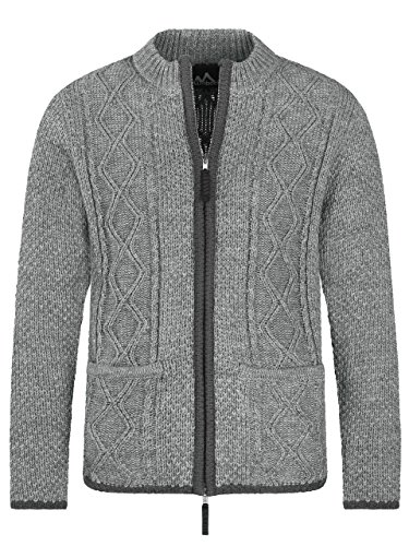 Almbock Trachten Strickjacke grau - Strickjacke mit Reißverschluss - Herren Trachten Strickjacke in Grau Größe S