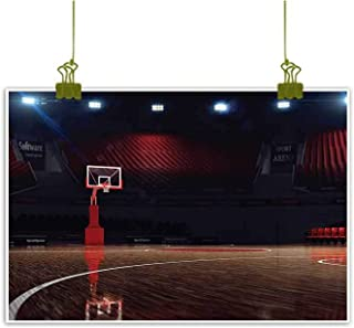 SEMZUXCVO Abstract Painting Sports Decor Picture of Empty Basketball Court Sport Arena with Spot Lights and Wood Floor Natural Art W35 x L24 Brown Black and Red