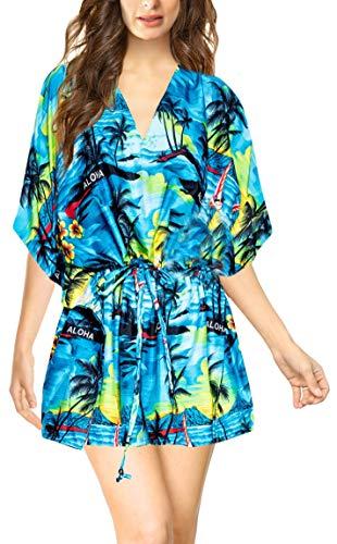 Encubrir Kaftan Vestido Las Mujeres Traje ba�o Traje ba�o Ropa Playa Mangas Casquillo Color Turquesa