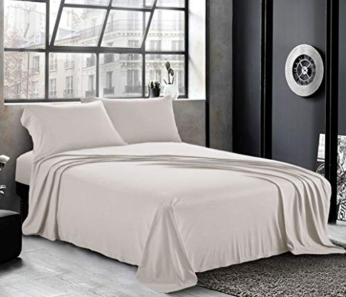 Pure Bedding Jersey Sheets King [4-Piece, Light Gray] Cotton Bed Sheets - Extra Soft Cotton Sheet Set, Cozy T-Shirt All Season Heather Sheets - Deep Pocket Fitted Sheet, Flat Sheet, Pillow Cases