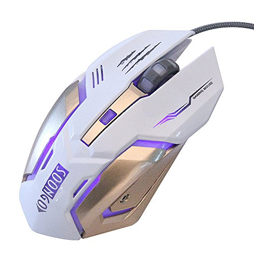 Gaming Mouse Wired fit to Ergonomic Laptop PC Computer Mouse USB Pro Gaming Mice with Adjustable 3200 DPI Programmable Breathing Lights 4 Buttons use to Gaming Business Home White Color by SOON GO