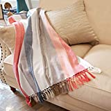 MOTINI 100% Cotton Multi-Colored Striped Throw Blankets Chevron Soft Woven with Decorative Fringe Tassels for Sofa Couch, 50' x 60', Red White Blue