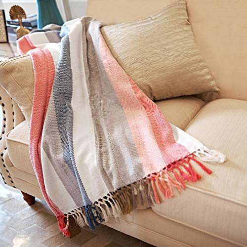 MOTINI 100% Turkish Cotton Decorative Blankets Colorful Stripe Cozy Soft Throw Blankets with Fringe for Sofa Couch, Multi, 60 x 50 inch